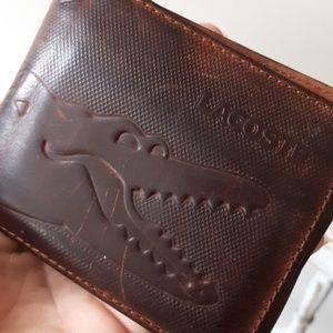 LACOSTE Distressed brown pocket wallet